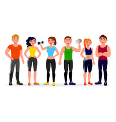 fitness people in flat design vector image
