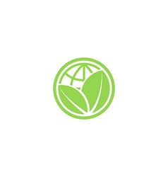 Green leafs and globe eco icon mockup save planet vector image vector image