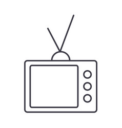 retro tv line icon sign on vector image vector image