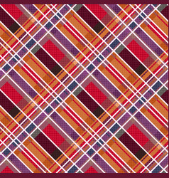 rhombic tartan fabric seamless texture in warm vector image