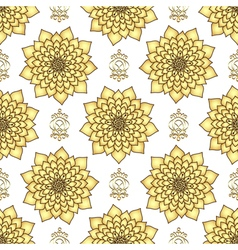 Vintage seamless pattern with golden lotus flowers vector image
