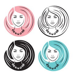 Woman with stylish hairstyles vector image vector image