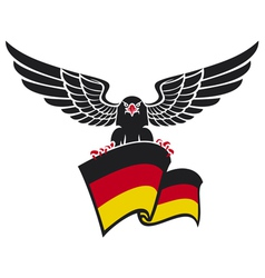 black eagle with the German flag vector image vector image