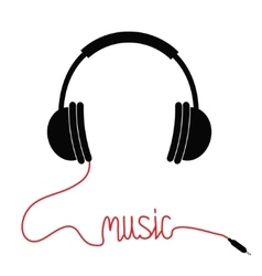 Black headphones with cord in shape of word Music vector image vector image
