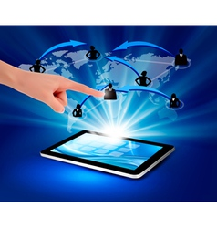 blue background with social network and tablet pc vector image