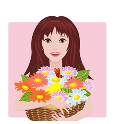 girl bouquet vector image vector image