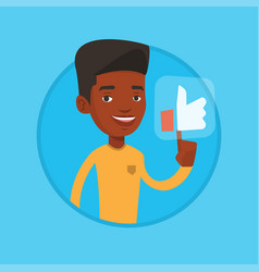 man pressing like button vector image