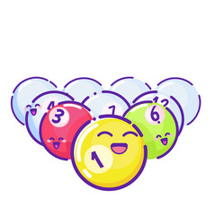 colored pool balls flat style with long shadows vector image