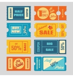 Discount coupon sale tickets set vector image vector image