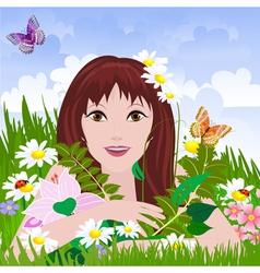 girl meadow vector image vector image