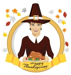 pilgrim man holding a roasted turkey vector image vector image