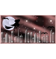 Postcard for Halloween Witch on a broom and bats vector image vector image