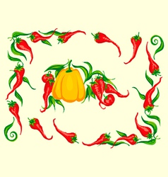 red hot chili pepper frame vector image vector image