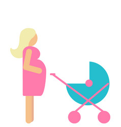 set of pregnant mother with newborn in stroller vector image