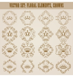 Victorian crown and decorative elements vector image