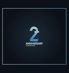 2 years anniversary logotype with cross hatch vector