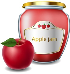 Apple jam in jar vector image