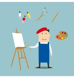 Artist or craftsman with art elements vector image