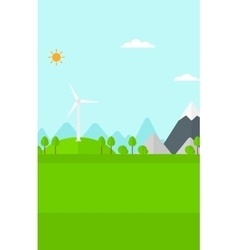 Background of mountains with wind turbine vector image