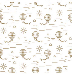 balloon simple line gold and white seamless vector image