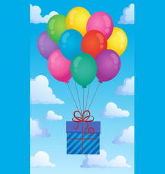 Balloons with gift theme image 2 vector