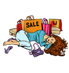 Beautiful woman after sale girl is tired and vector