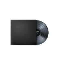 Black vinyl music record realistic vintage vector