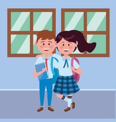 Boy and girl kid school design vector