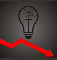 Broken light bulb broken idea concept vector