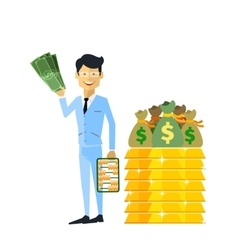Businessman with Money Gold Isolated vector image
