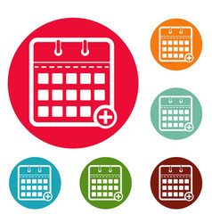 Calendar deadline icons circle set vector