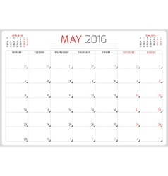 Calendar Planner 2016 Design Template May Week vector