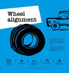 car service concept web banner wheel alignment vector image
