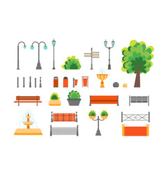 Cartoon color urban park elements set vector