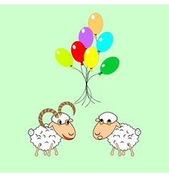 Cartoon sheep and ram with colorful balloons vector image