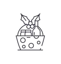 christmas gift basket line icon concept christmas vector image