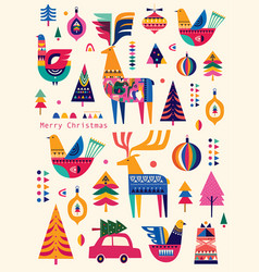 christmas scandinavian folk collection vector image