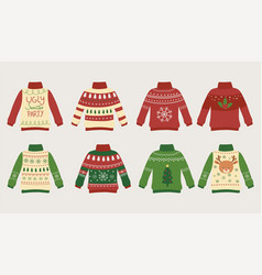 christmas ugly sweaters party differents design vector image
