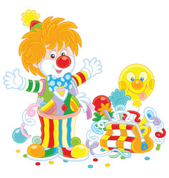 circus clown with toys vector image
