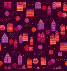 cityscape hand drawn seamless pattern vector image