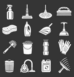 cleaning icons set grey vector image