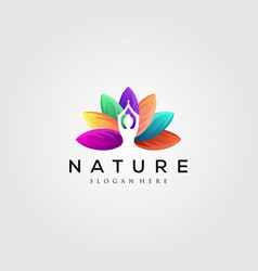 colorful leaf logo with yoga silhouette vector image