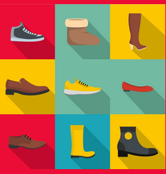 Comfortable shoes icons set flat style vector