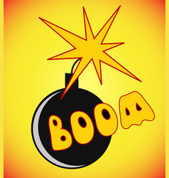 comic book cartoon bomb with fire expression and vector image