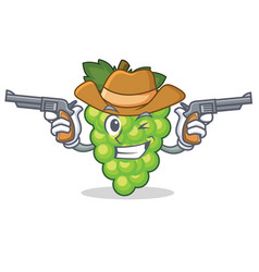 Cowboy green grapes character cartoon vector