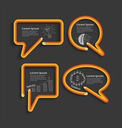 creative design pencil in shape speech bubbles vector image