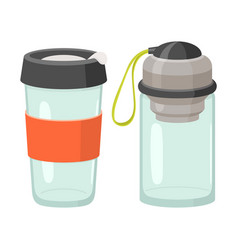Cups and drink glasses icon set vector