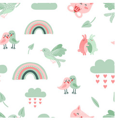 cute animal pattern dove birds and cat rainbow vector image