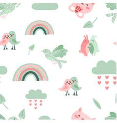 Cute animal pattern dove birds and cat rainbow vector