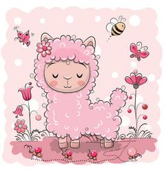 Cute lama with flowers and butterflies vector